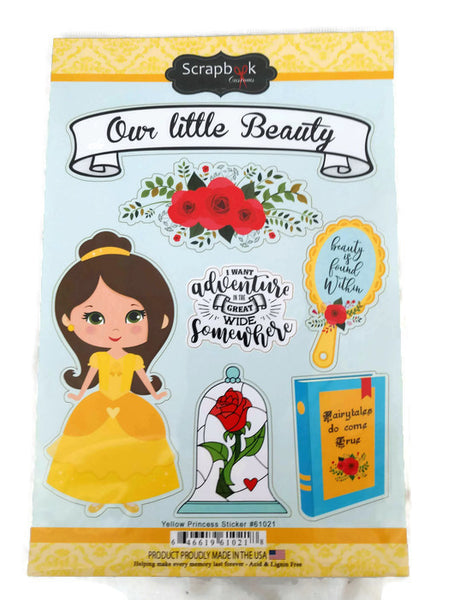 Yellow Princess Stickers Beauty and the Beast Stickers