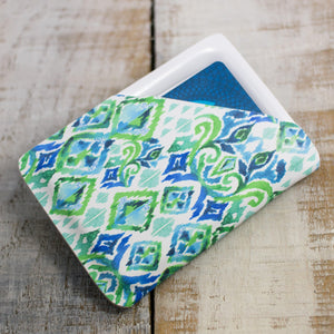 Green & Blue Ikat Slimline Wallet