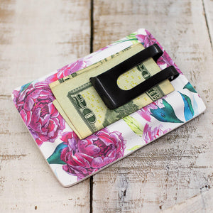 Purple Peonies Slimline Wallet