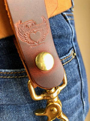 Leather Key Chain with Clip-Flashbang Holsters