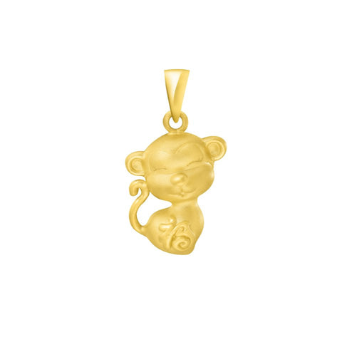 999 Pure Gold Zodiac Buddies Monkey Pendant