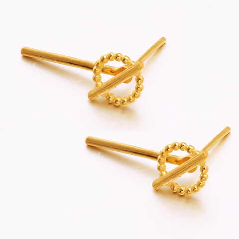 999 Pure Gold Minimalist Geometric Simplicity Earrings
