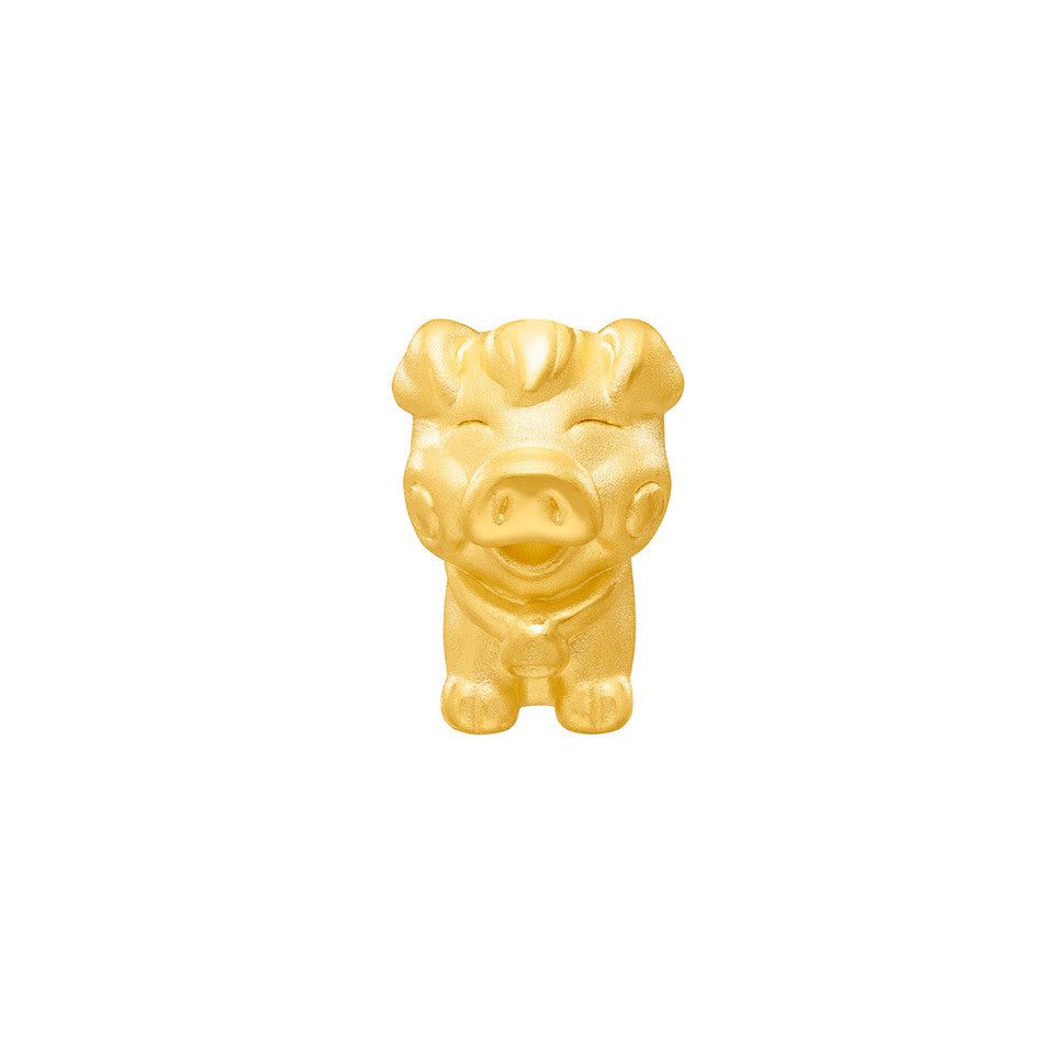 999 Pure Gold Zodiac Friends Pig Charm