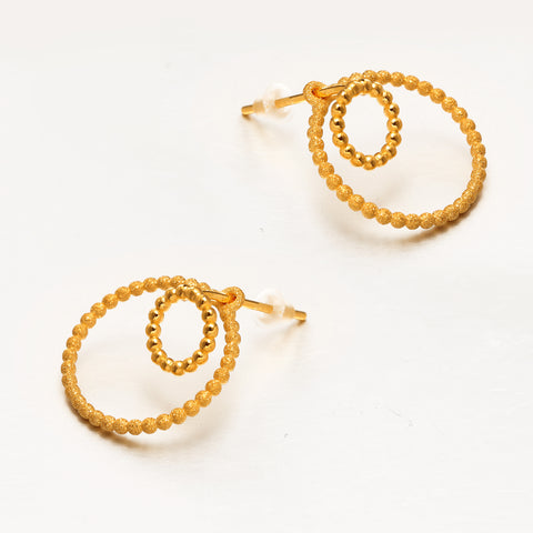 999 Pure Gold Minimalist Loops of Hope and Courage Earrings