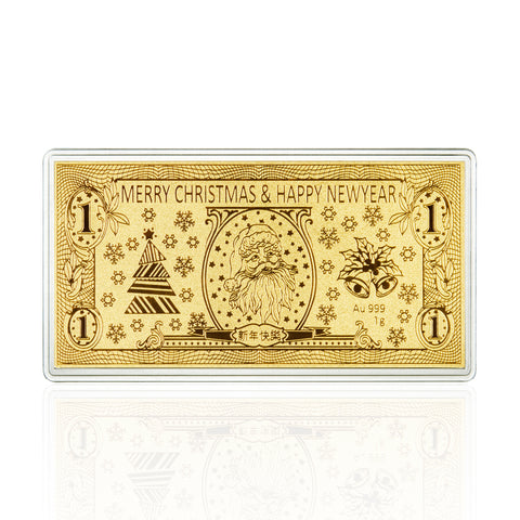 999 Pure Gold Blissful Christmas 1g Gold Bar