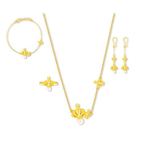 999 Pure Gold Crowning Pearls of Romance Collection