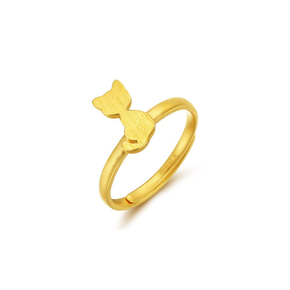 999 Pure Gold Future Gold Adorable Animals Playful Kitten Ring