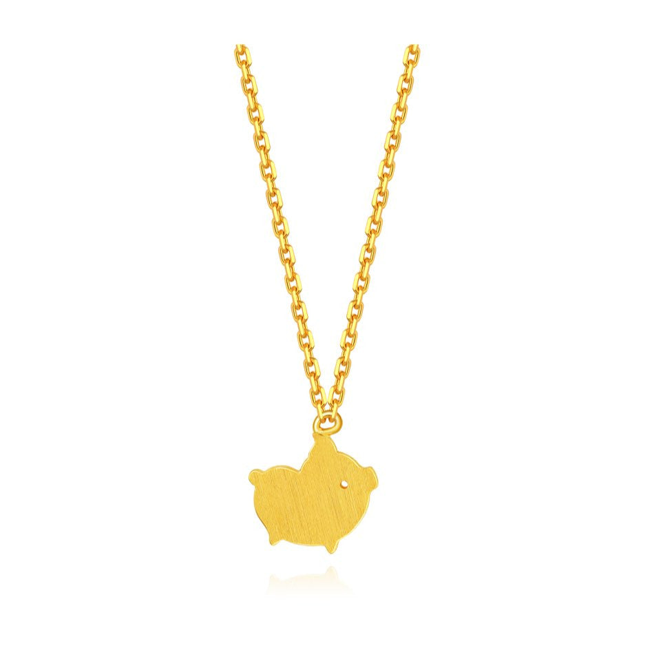 999 Pure Gold Future Gold Adorable Animals Goofy Piglet Necklace