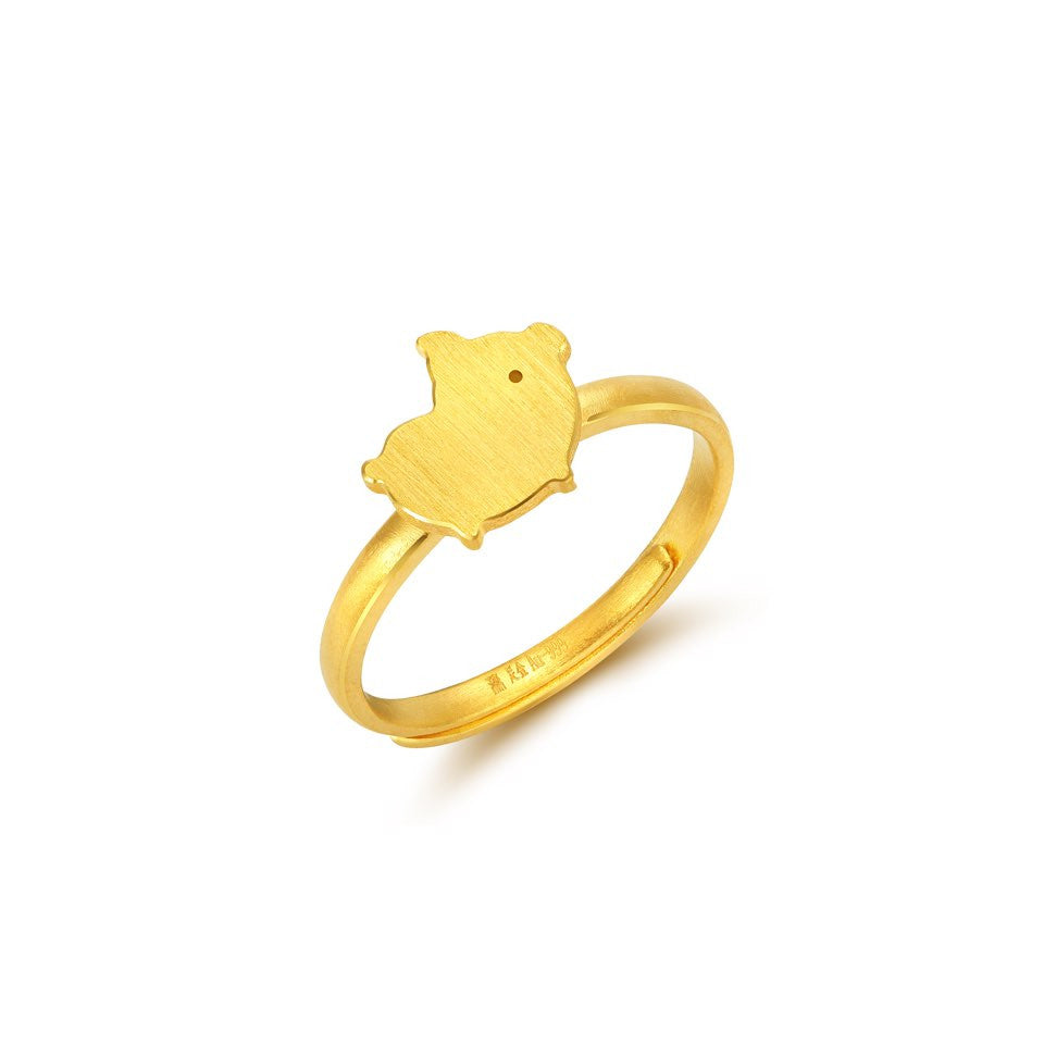 999 Pure Gold Future Gold Adorable Animals Goofy Piglet Ring