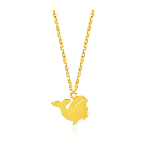 999 Pure Gold Future Gold Adorable Animals Graceful Whale Necklace