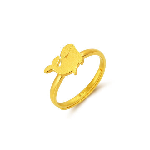 999 Pure Gold Future Gold Adorable Animals Graceful Whale Ring