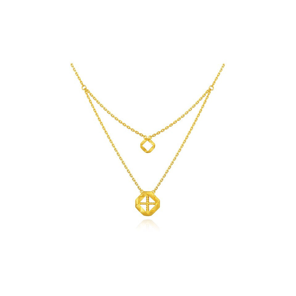 999 Pure Gold Future Gold Double Weave Necklace