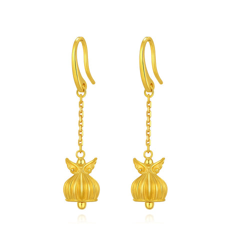 999 Pure Gold Future Gold Listen to Me Angels Wings Bell Earrings