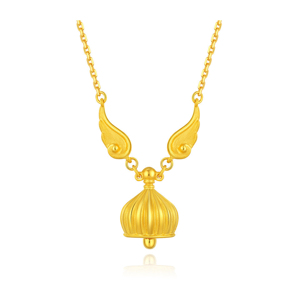 999 Pure Gold Future Gold Listen to Me Angels Wings Bell Necklace