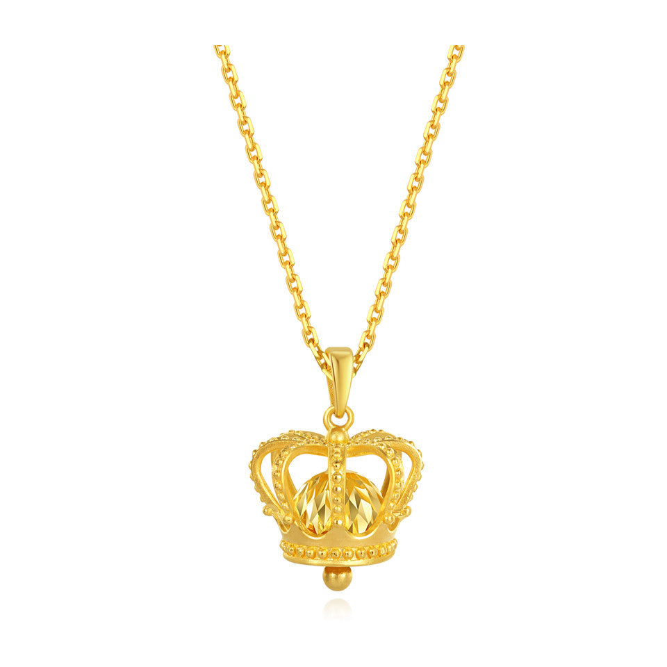 999 Pure Gold Future Gold Listen to Me Miss Independent Crown Bell Necklace