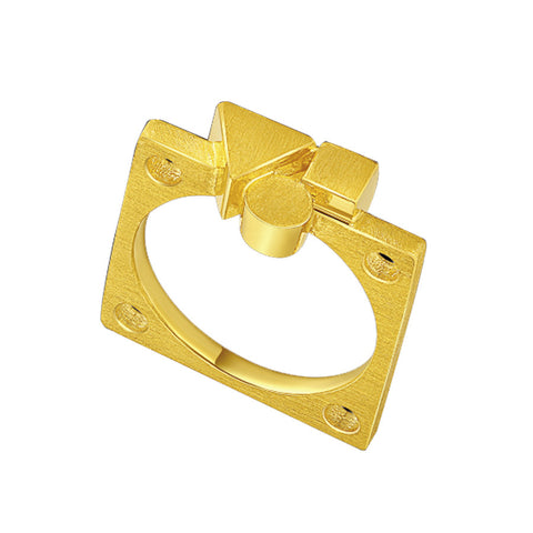 999 Pure Gold Geometry Love Ring