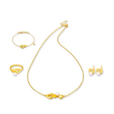 999 Pure Gold Harmonious Union of Hearts and Pearls Collection