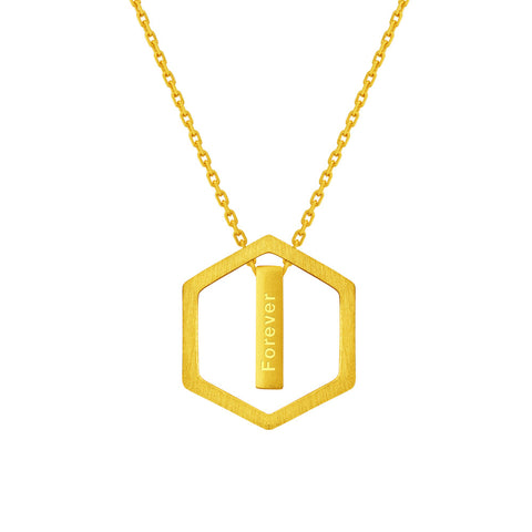 999 Pure Gold Minimalist Honeycomb Necklace