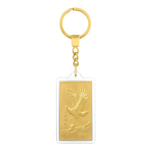 999 Pure Gold Plated Eagle of Success Key Chain