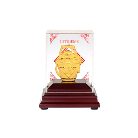 999 Pure Gold Plated Gold Bucket Figurine