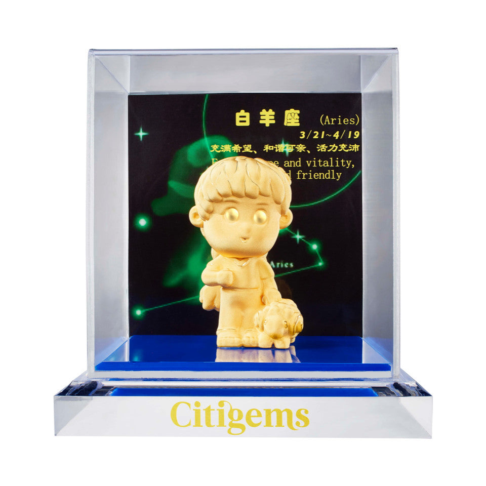 999 Pure Gold Plated Horoscope Figurine - Aries