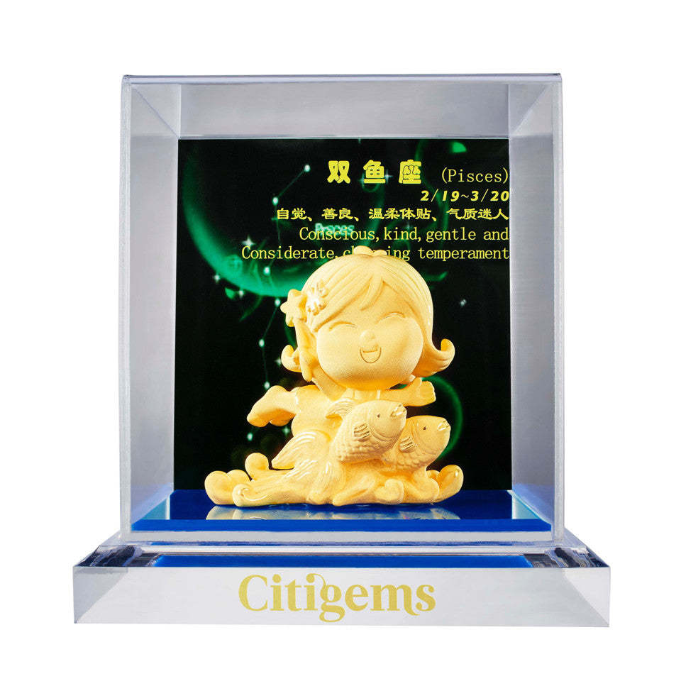 999 Pure Gold Plated Horoscope Figurine - Pisces