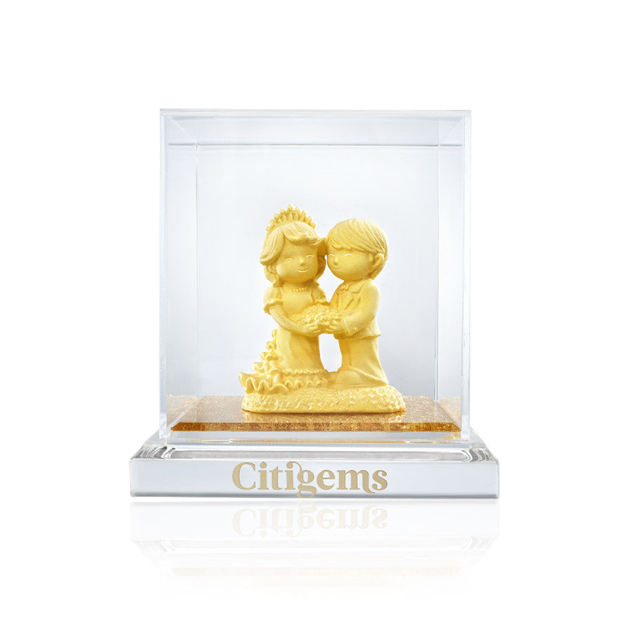 999 Pure Gold Plated Loving Union Figurine