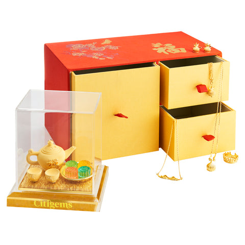 999 Pure Gold Plated Mid Autumn Tea Set Figurine-In-Jewellery-Box