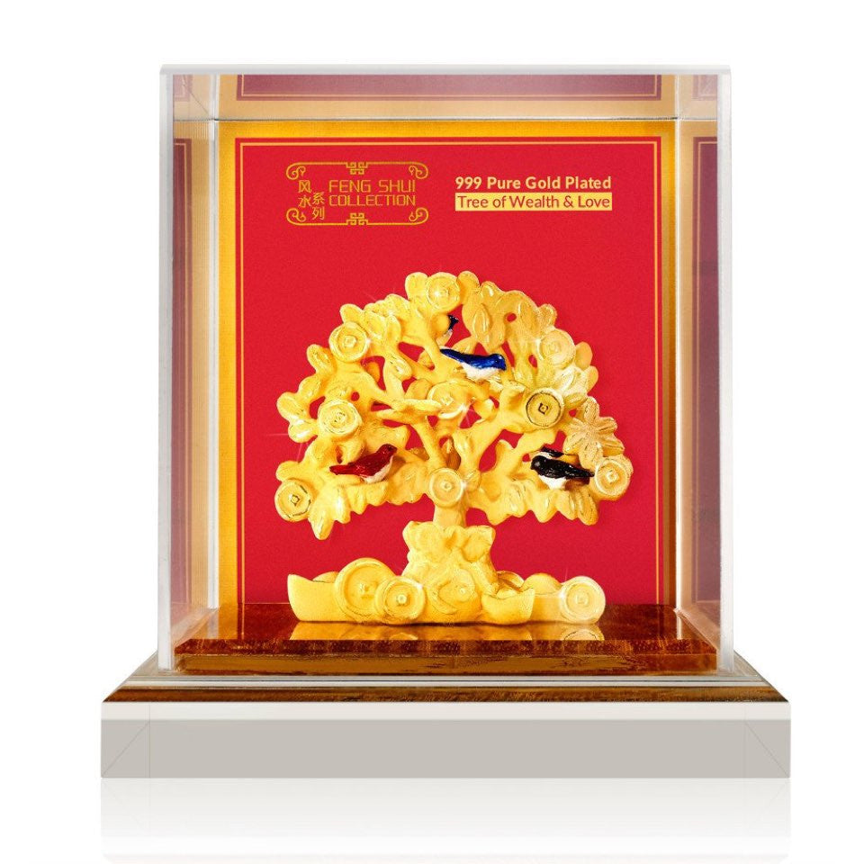 999 Pure Gold Plated Tree of Wealth & Love