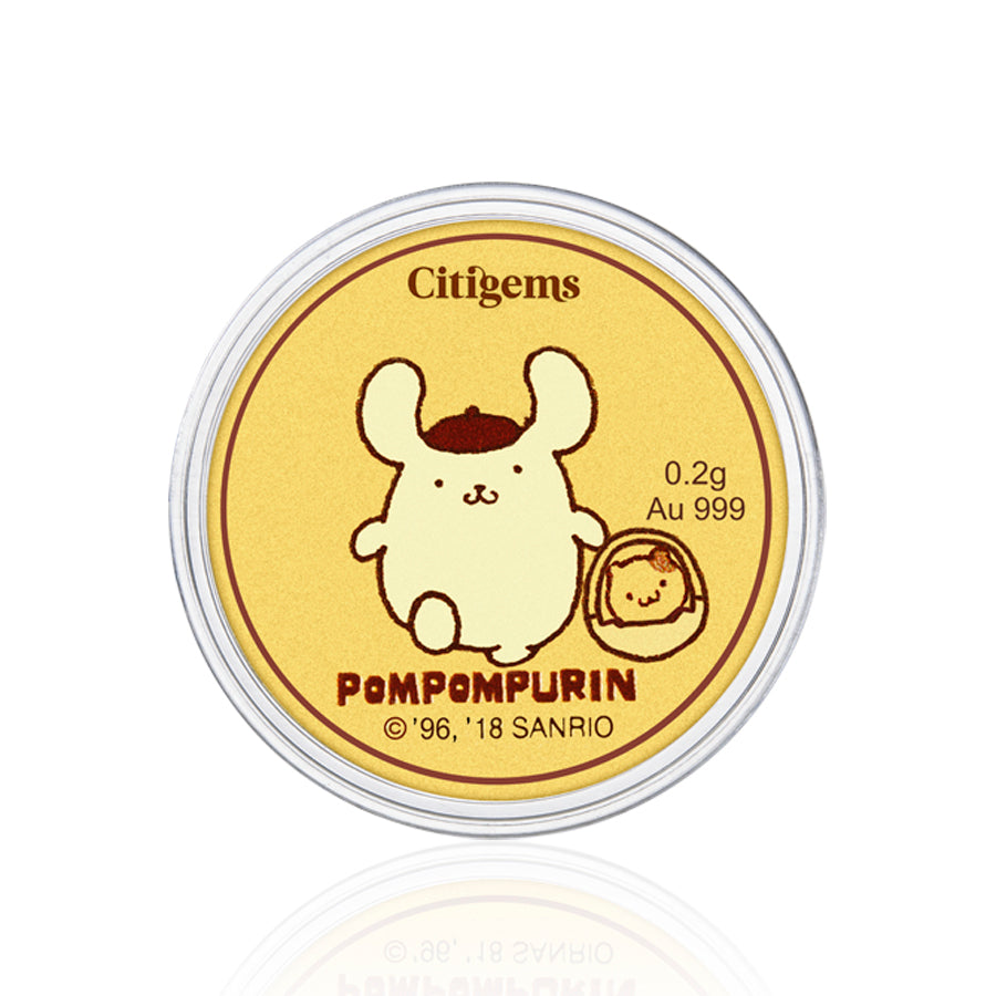 999 Pure Gold Pompompurin Big Day Out 0.2g Gold Coin