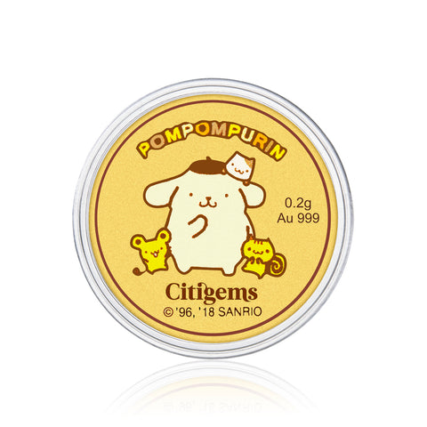 999 Pure Gold Pompompurin & Friends 0.2g Gold Coin