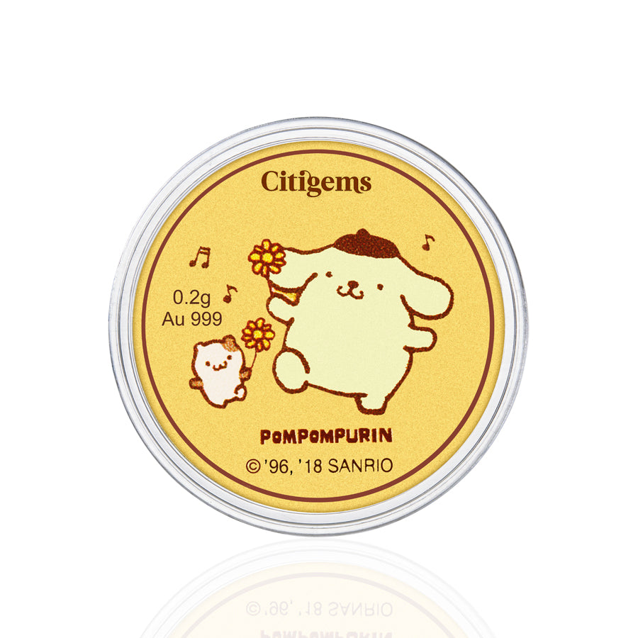 999 Pure Gold Pompompurin Fun In The Park 0.2g Gold Coin