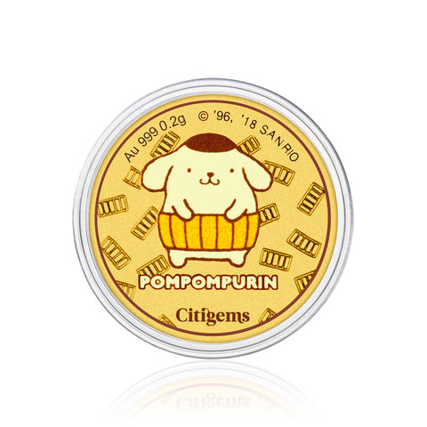 999 Pure Gold Pompompurin  in Pumpkin Costume 0.2g Gold Coin