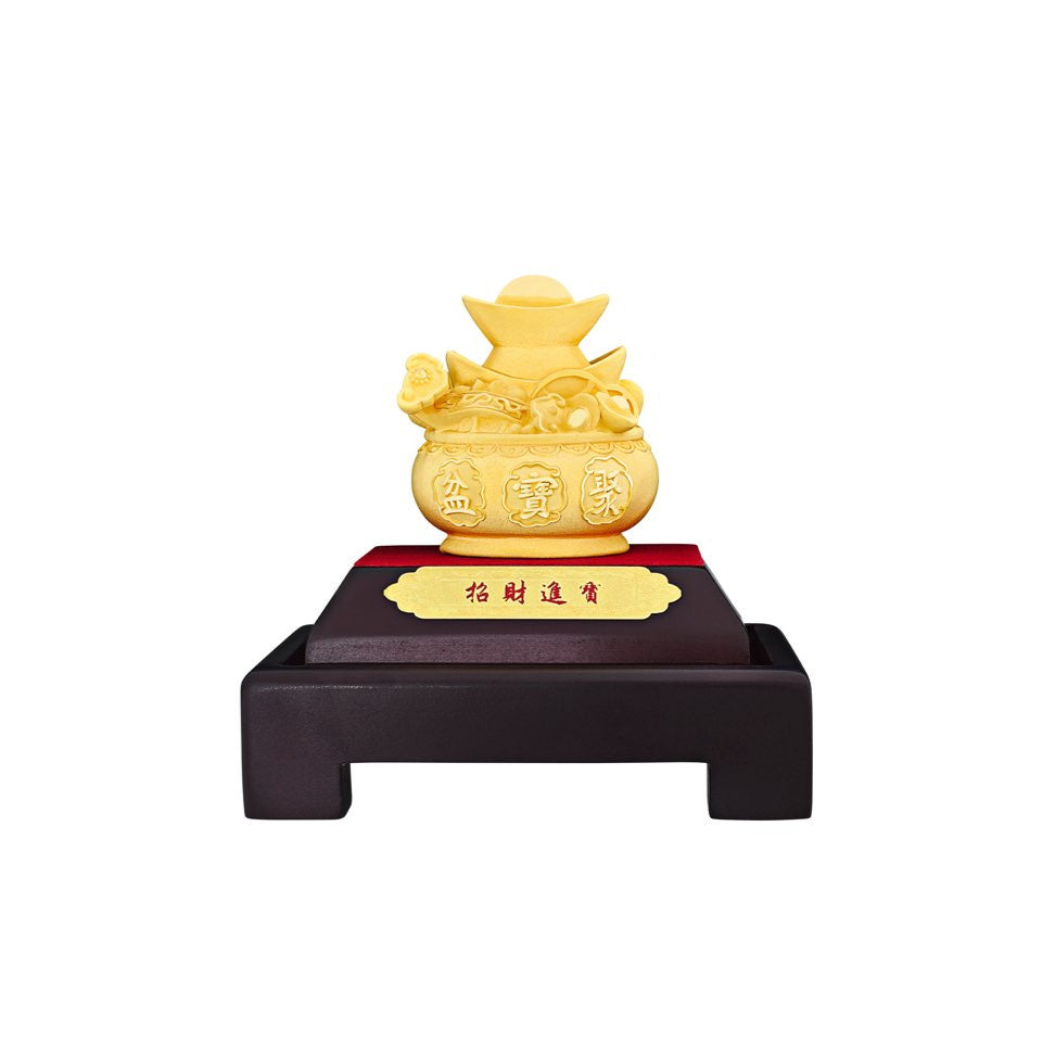 999 Pure Gold Plated Treasure Pot Figurine
