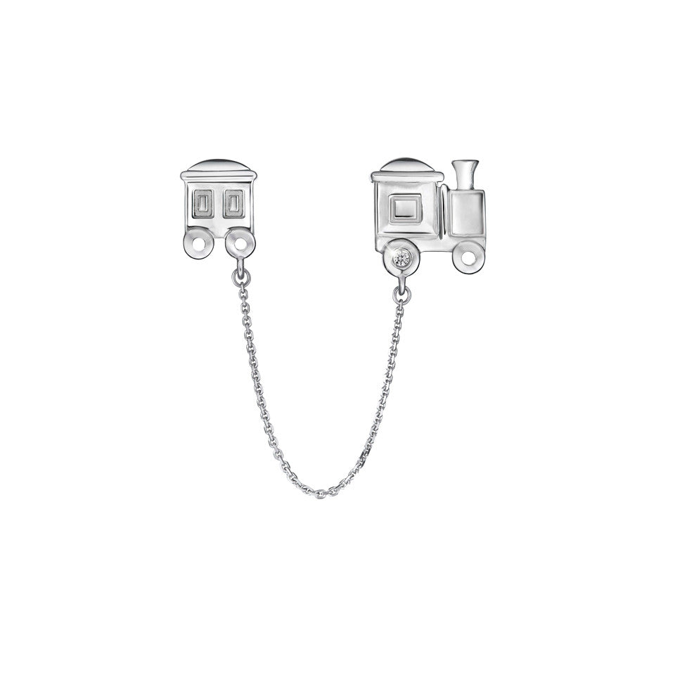 A Train Journey Diamond and White Gold Charm