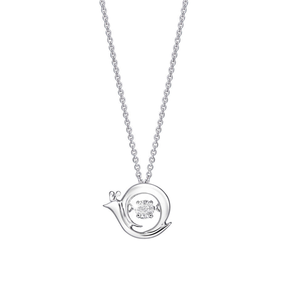 Adorable Snail Tango and White Gold Pendant