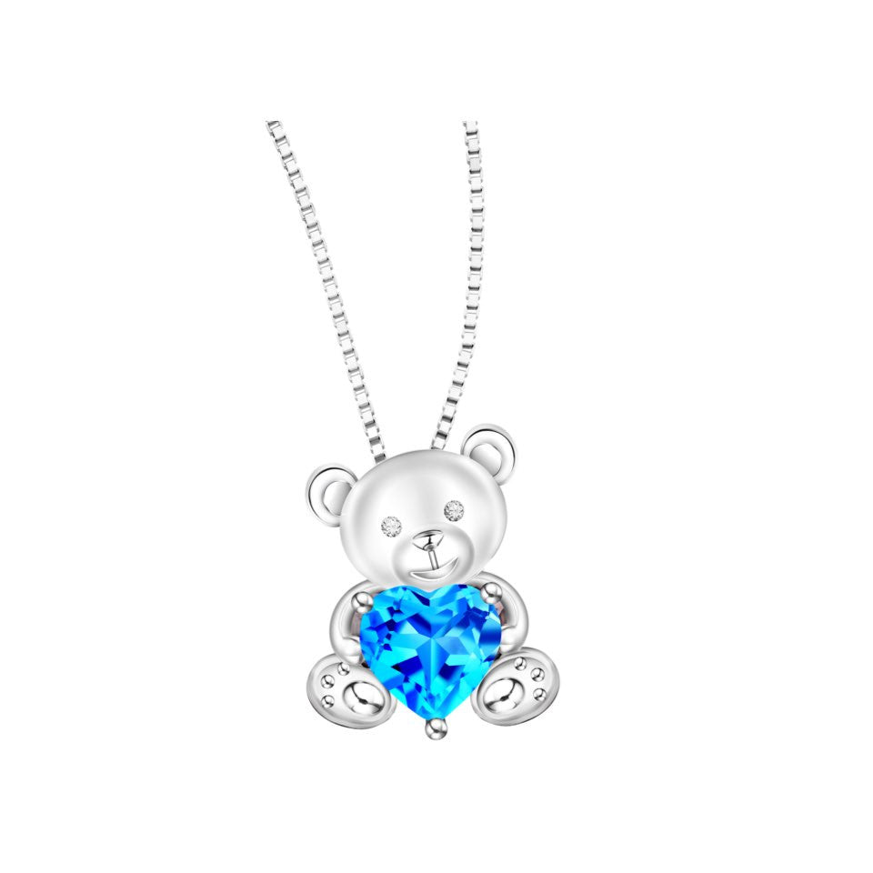 Adorable Teddy Coloured Gem and Diamond White Gold Pendant