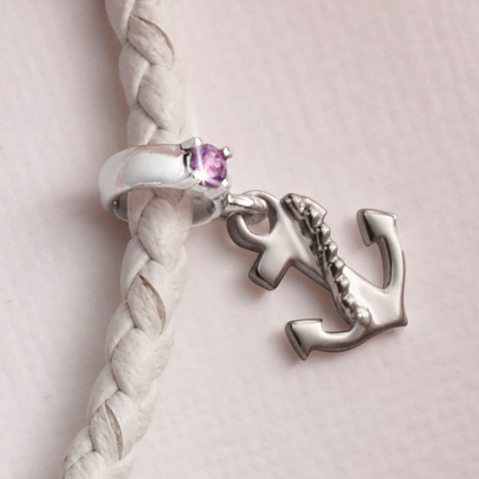 Anchor of Life Amethyst and White Gold Charm