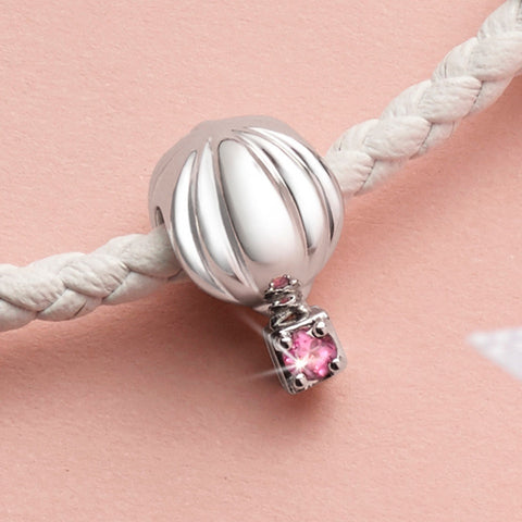 Balloon of Adventures Rhodolite and White Gold Charm