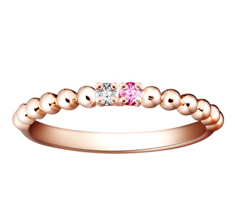 Splendid Vibrance Tourmaline, Diamond and Rose Gold Stackable Ring