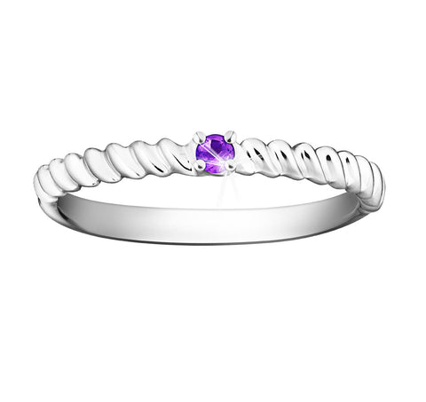Splendid Vibrance Amethyst and White Gold Stackable Ring