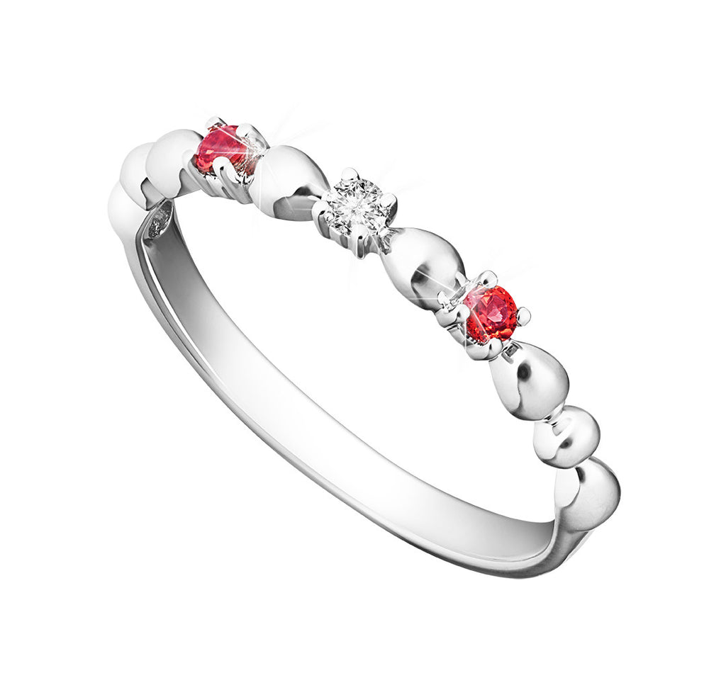 Splendid Vibrance Garnet, Diamond and White Gold Stackable Ring