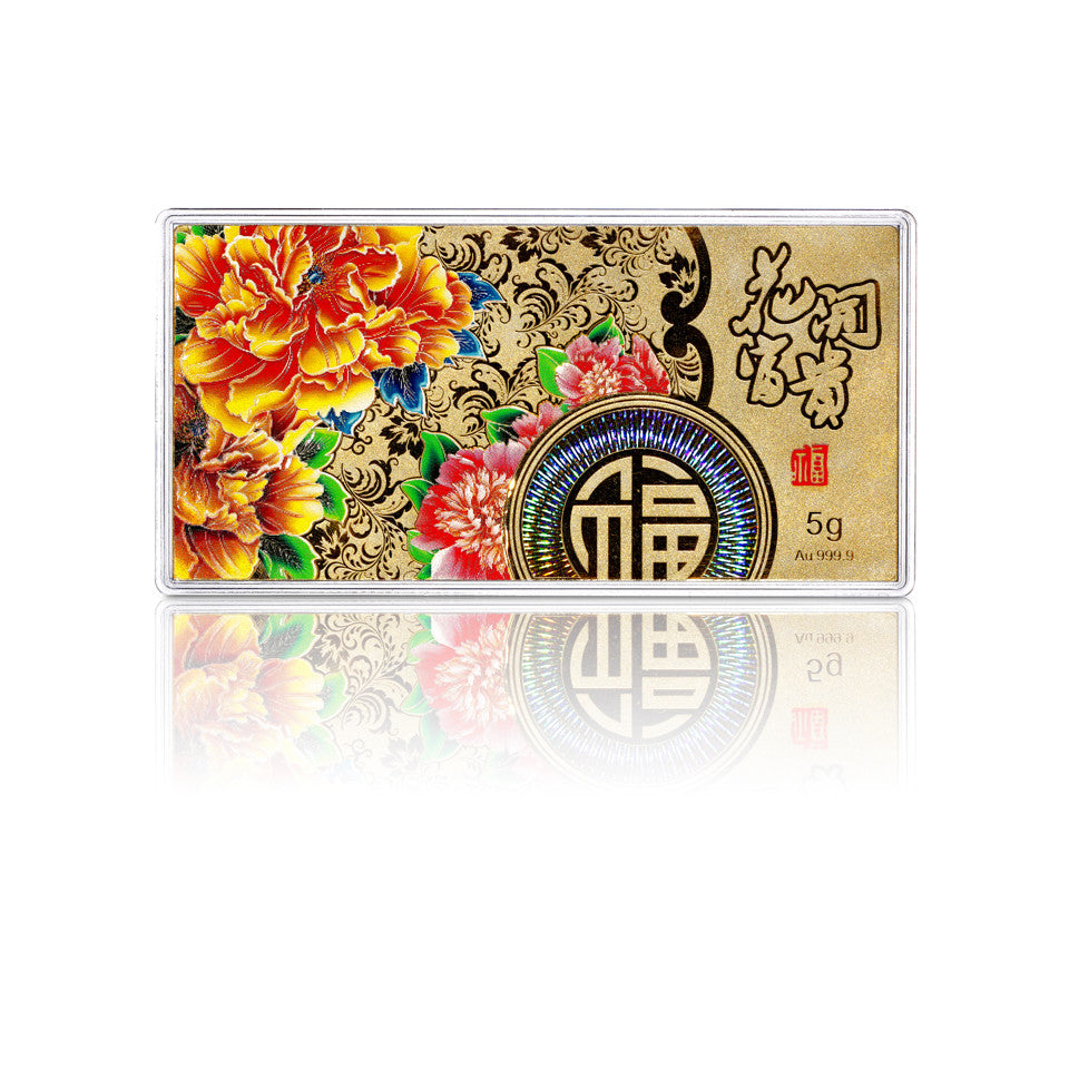 999 Pure Gold Blissful Blossoms 5g Gold Bar
