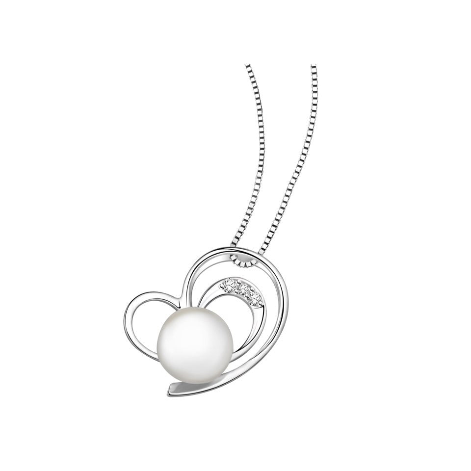 Charmed Hearts Pearl and Diamonds White Gold Pendant