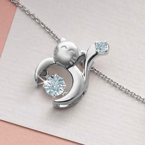 Charming Cat Tango Diamond and White Gold Pendant