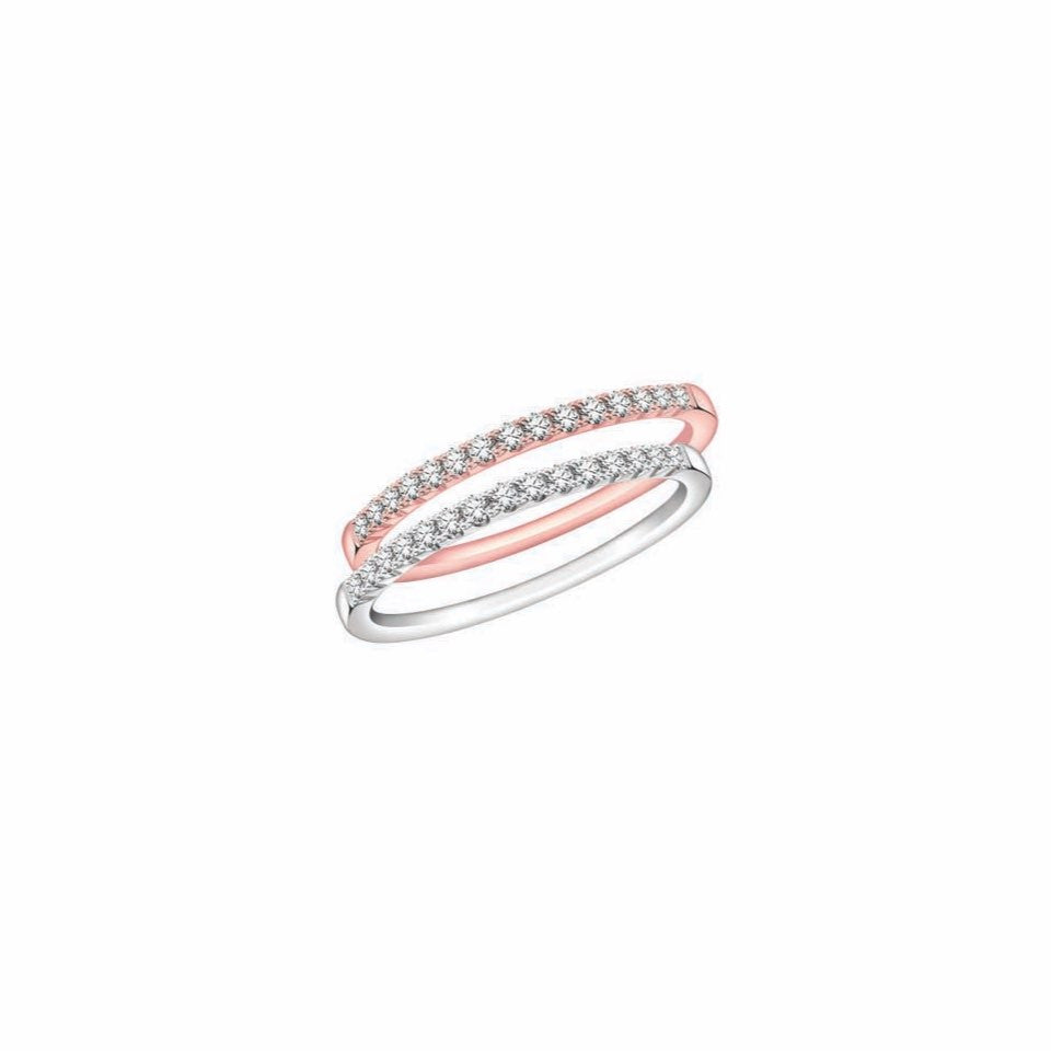 Charming Love Diamonds, White Gold and Rose Gold Stackable Rings