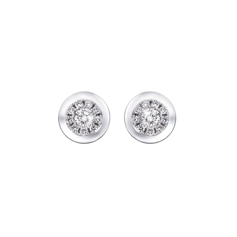 Circle of Life Cluster Diamonds and White Gold Earrings