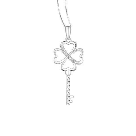 Clover of Hearts Key Diamond and White Gold Pendant