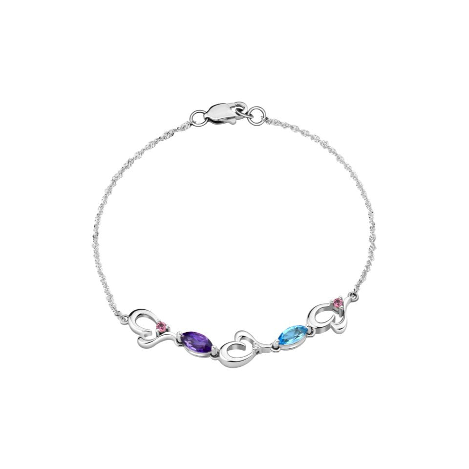 Colours of Love Coloured Gem and Diamonds White Gold Bracelet