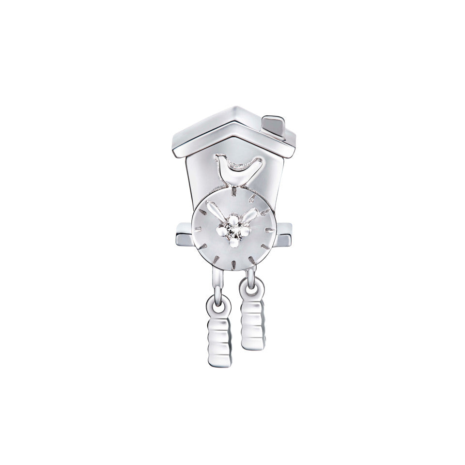 Cuckoo Clock Diamond and White Gold Charm